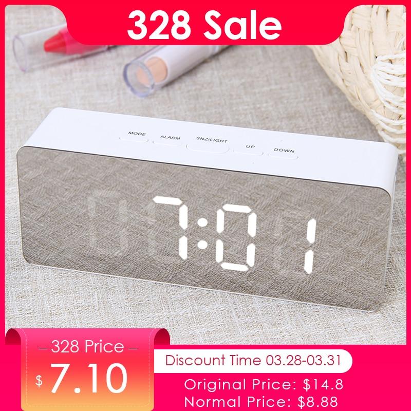 JULY'S SONG Digitale Spiegel LED Wecker Nacht Lichter Thermometer Wanduhr Lampe Quadrat Rechteck Multi-funktion Schreibtisch Uhren