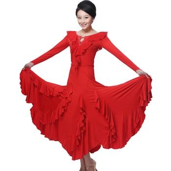 new Women Sexy Big Pendulum Women Sexy Ballroom Dance Competition Dresses Lace collar Female Modern Waltz Tango Standard Dress