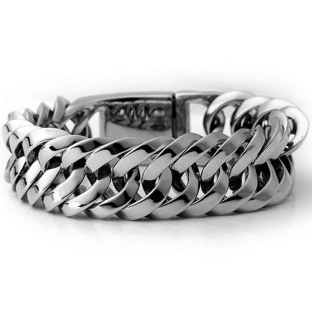 Fashion New Link Chain Stainless Steel Bracelet Men Heavy 20mm / 30mm Wide Men's Bracelets Double Curb Chain Wristband