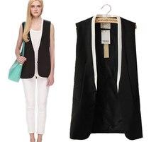 Высокое качество OL офис 2014 Весной и Летом женские жилет моды Лоскутное средней длины тонкий костюм женский пиджак рукавов жилет