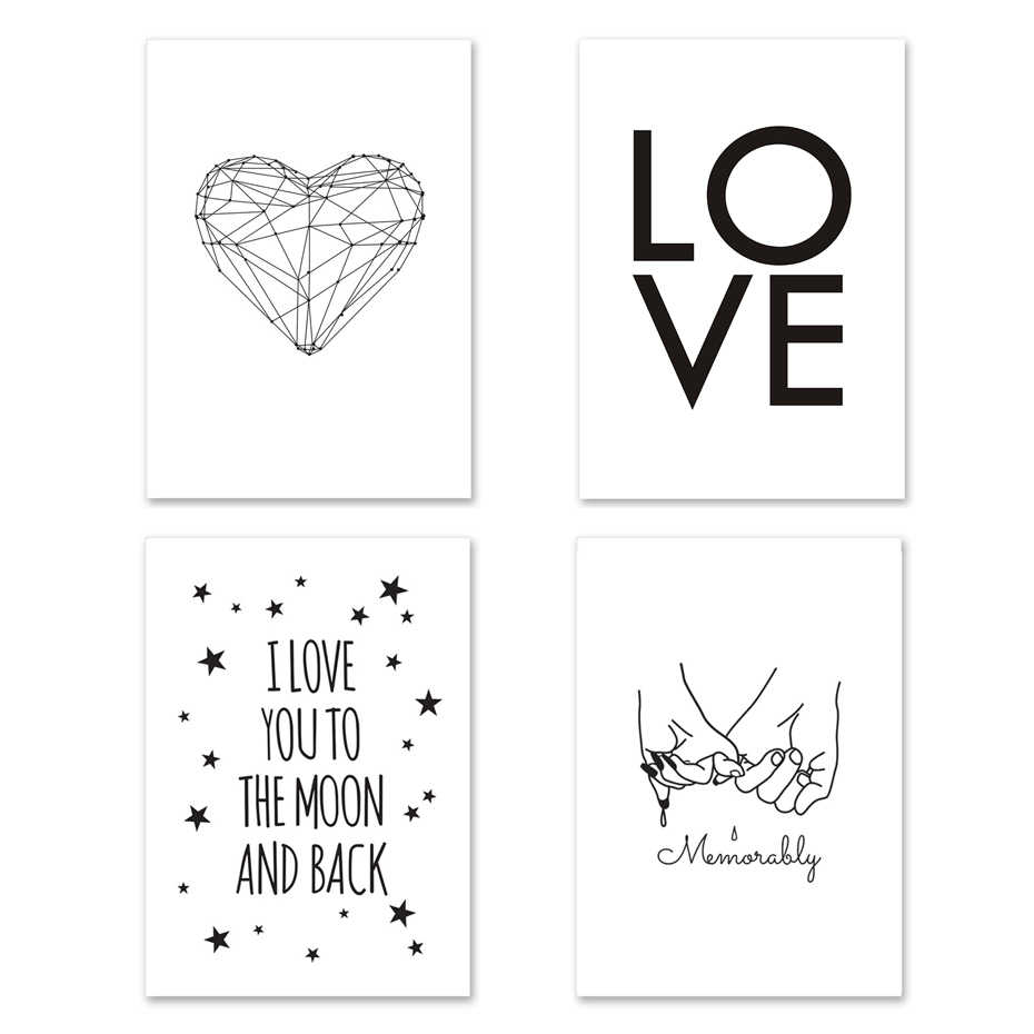 Geometry Heart Love Poster Black and White Star Canvas Painting Wall Pictures For Living Room Nordic Quote Decoration Home Art