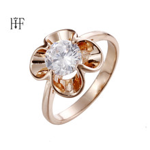 Fine Jewelry Original Natural Flowers Rings White Champagne CZ Stone Wedding Rings For Women Gold ring Flower Anel feminino(China)