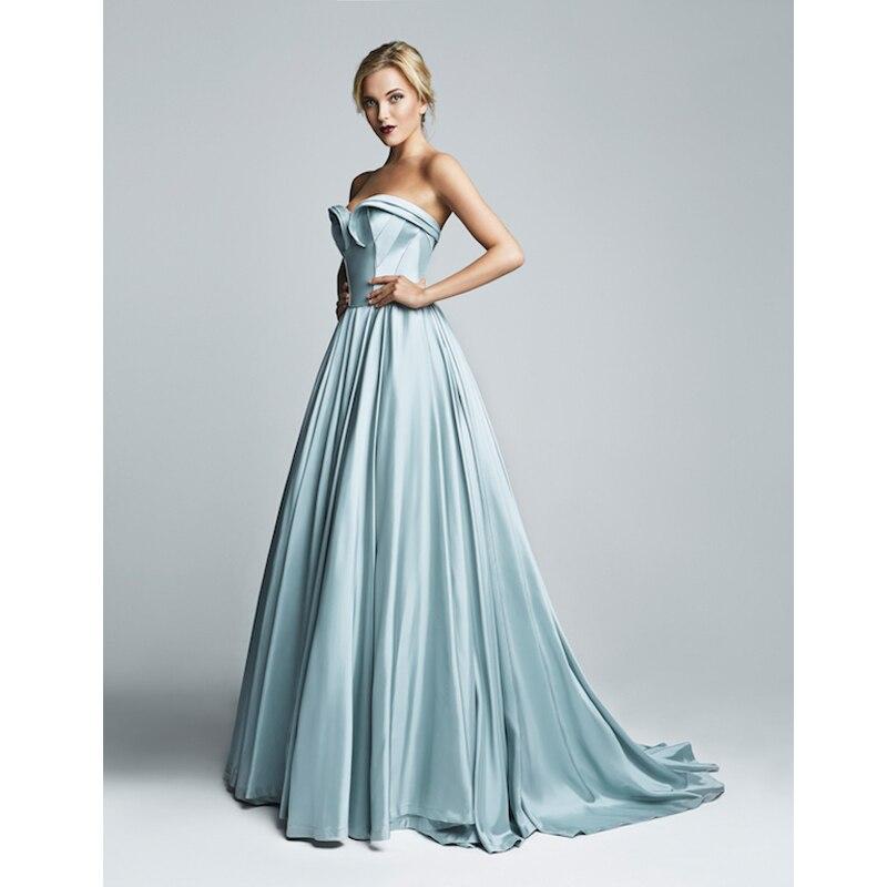a-line long   evening     dress   Formal gown robe de soiree sky blue satin 2016 new sexy vestido de festa longo sweetheart prom   dresses