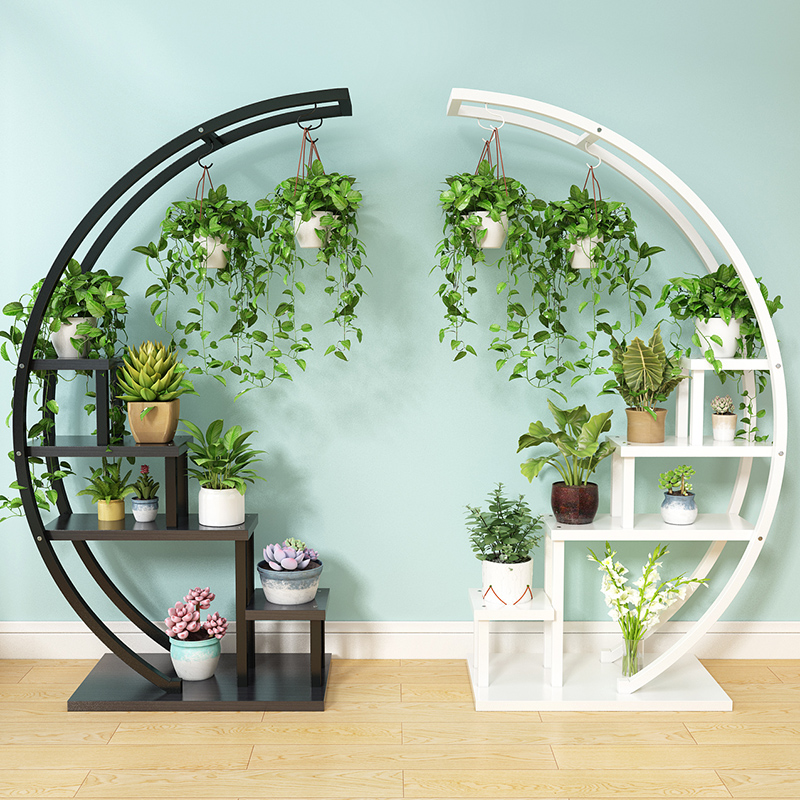 Living Room Home Half Moon Type Flower Stand Multi-storey Indoor Balcony Decorative Shelf Flower Pot Storage Rack Mx6241747