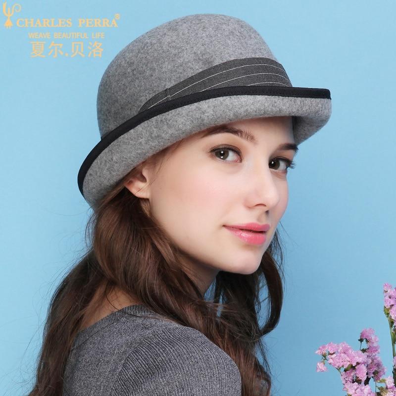 Charles Perra Women Winter Hat Warm Wool Cap New Fashion Elegant England Lady Stereotypes Jazz Hats
