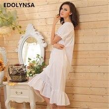 2017 Brand Sleep Lounge Women Sleepwear Cotton Nightgowns Sexy Long Robe  Home Dress White Nightdress Plus Size  P5 5cd89865e