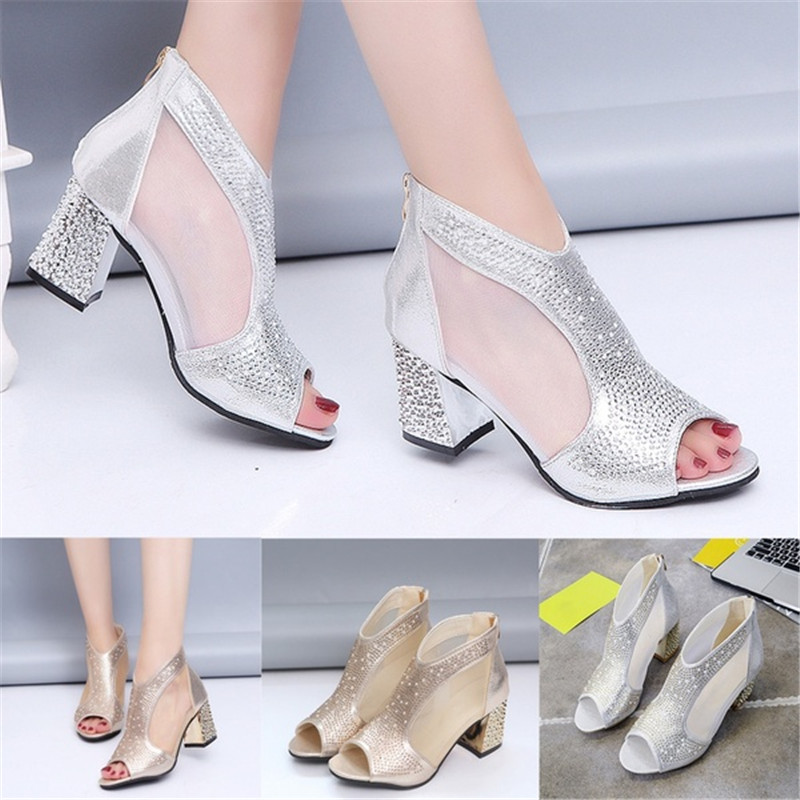 Women Sandals Wedding-Shoes Square Heel Diamond Bling High-Heels Summer Fashion 7cm Mujer
