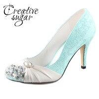 Creativesugar Handmade mint green lace ivory pearls rhinestone crystal woman vintage bridal wedding party evening dress shoes