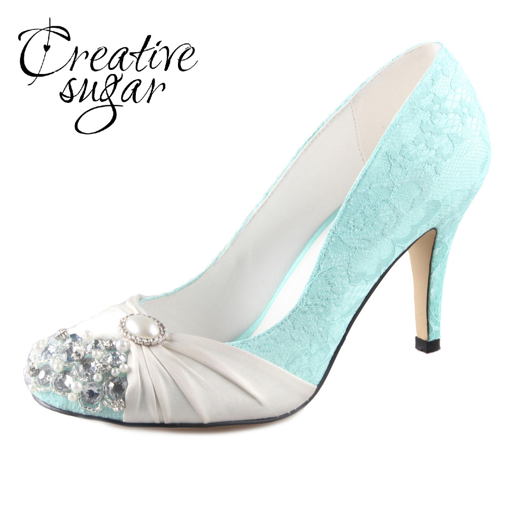 Creativesugar Handmade mint green lace ivory pearls rhinestone crystal woman vintage bridal wedding party evening dress shoes adidas performance шапка stripy beanie adidas