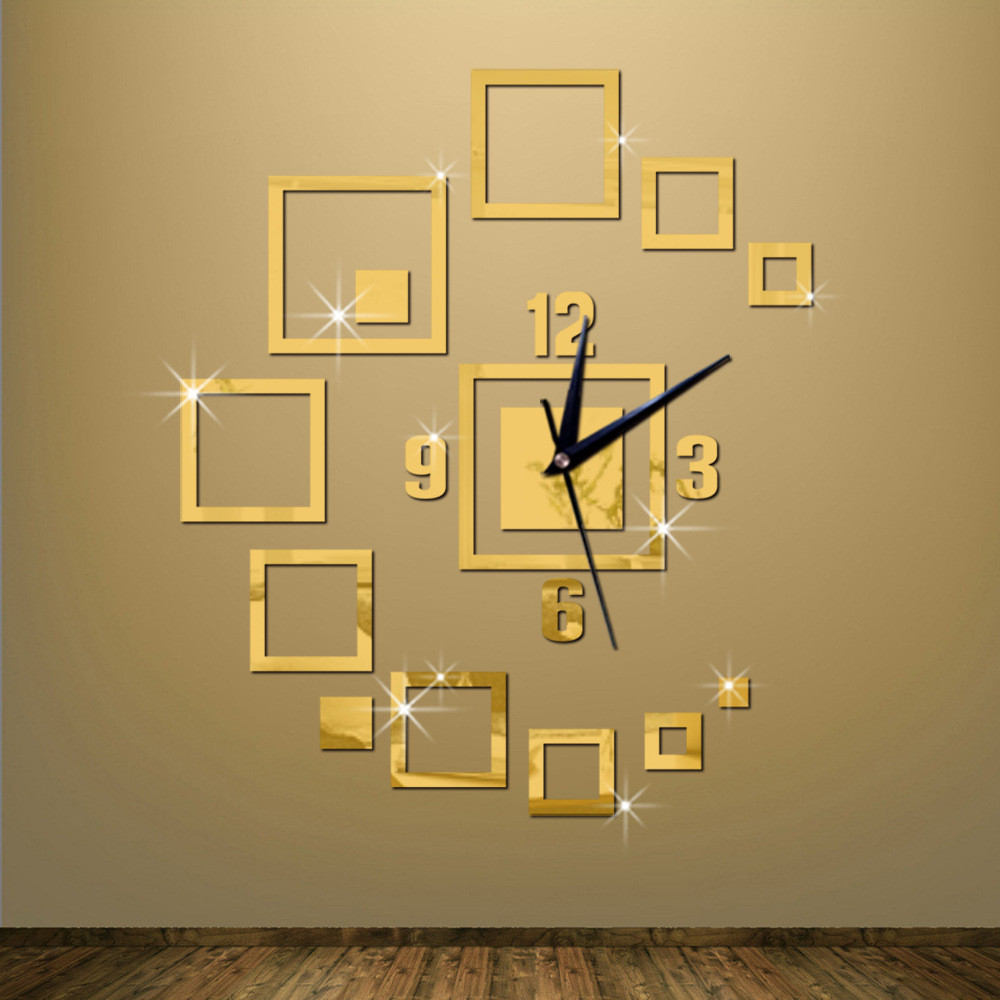 Luxury Gold Quartz Wall Clock Sticker Silver Mirror Large Decorative ...