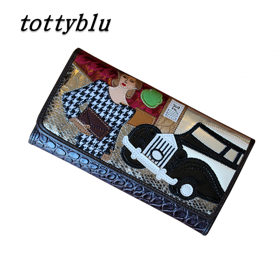 19x10CM 2016 Summer New Italian Series Retro Stitching Anna Panelled Colors Folded Wallet Women Long Section