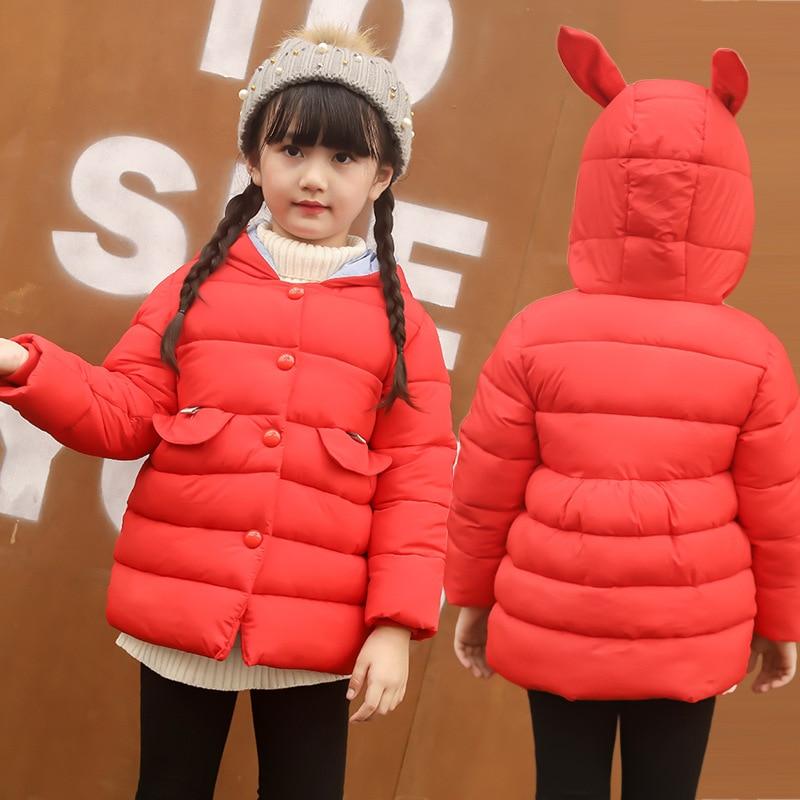 Детские Парки на меху для девочек Костюмы Новинка 2017 года Зимняя мода длинный рукав с капюшоном Пальто верхняя одежда детская одежда 6dp020