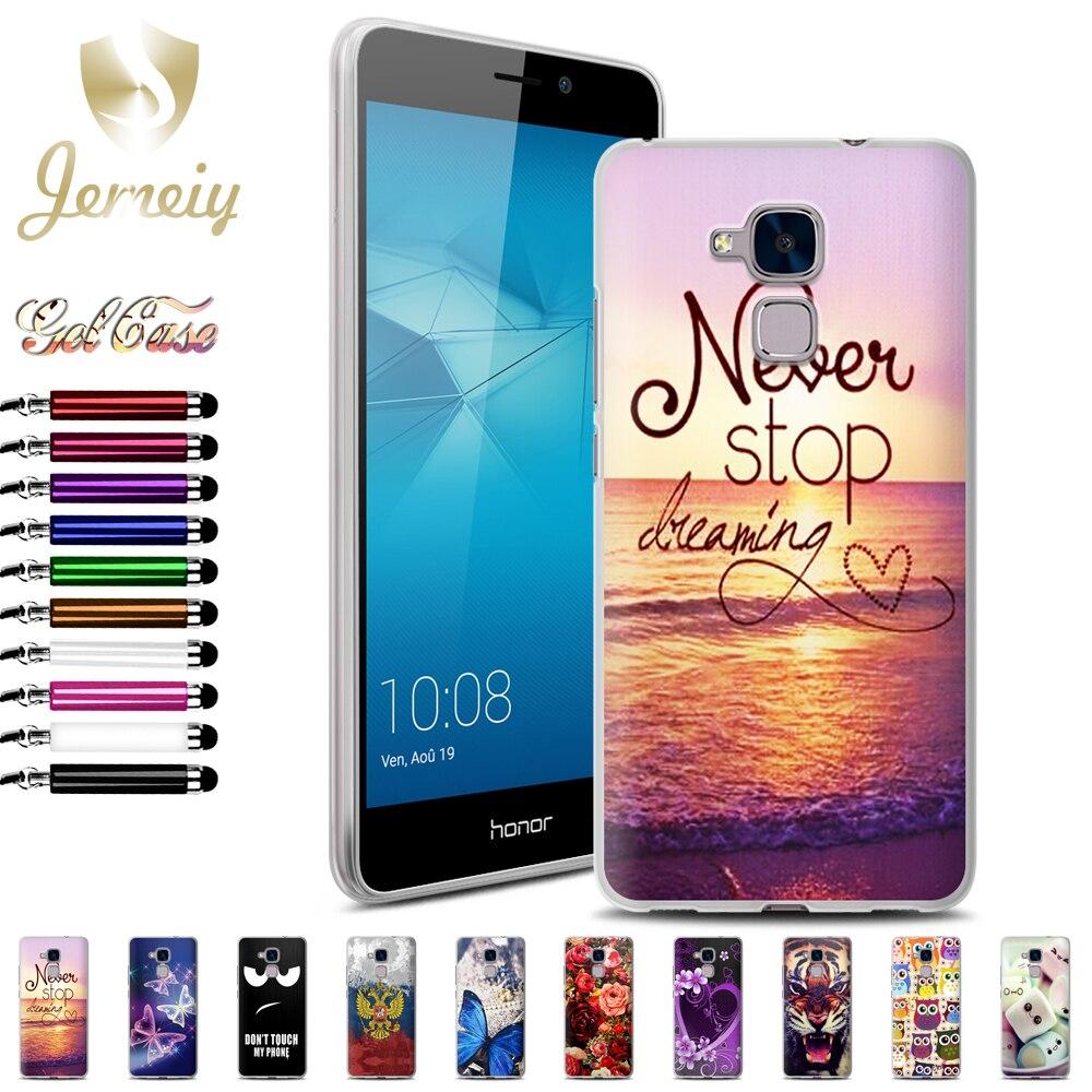 Fundas Мягкие TPU Капа для Huawei Honor <font><b>5C</b></font> телефона защитный чехол Красочные Печатные Coque закаленное стекло Тигр конфеты сова