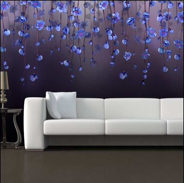 Purple peach blossom flower 5D Papel mural Wallpaper 3d wall mural for bedroom 3d wall photo mural wall paper 3d murals 3d papel parede forests trees bridge reflection scenery 3d wall paper mural 3d photo wallpaper 3d wall mural for sofa background