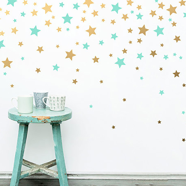 Free shipping 160pcs Mixed Sizes Color Removable Pattern Stars Wall Stickers DIY Decor For Kid Room P2-2
