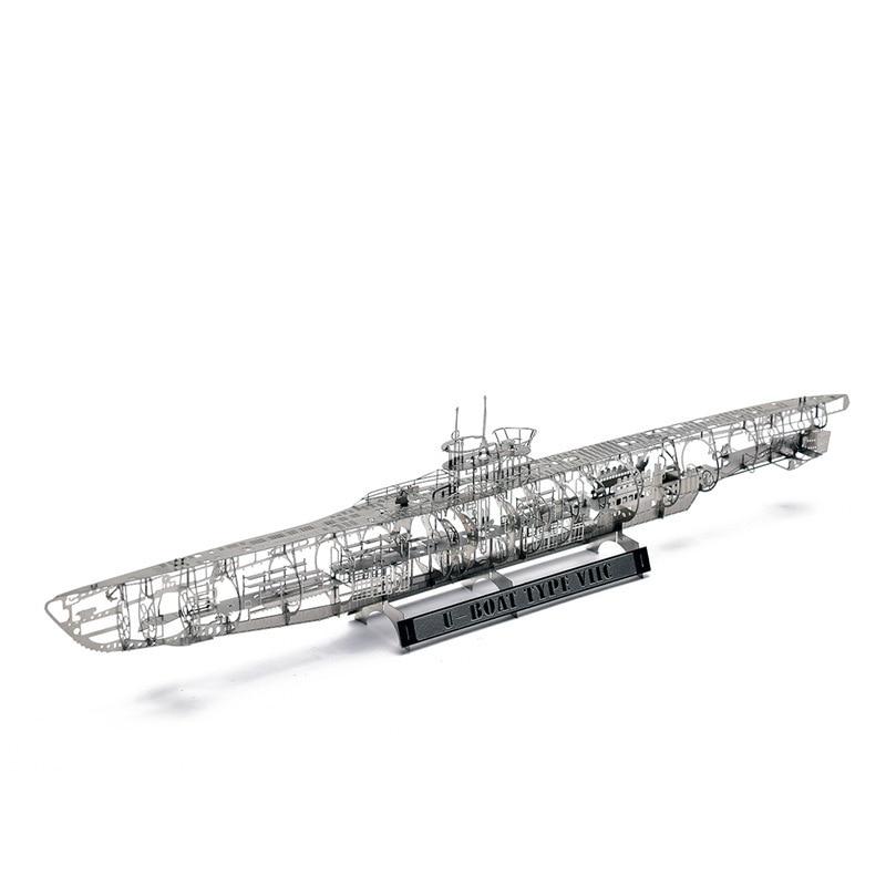 Ww2 1:350 alemão u submarino U-BOAT tipo viic diversão 3d metal diy miniatura modelo kits puzzle brinquedos crianças emenda hobby construção
