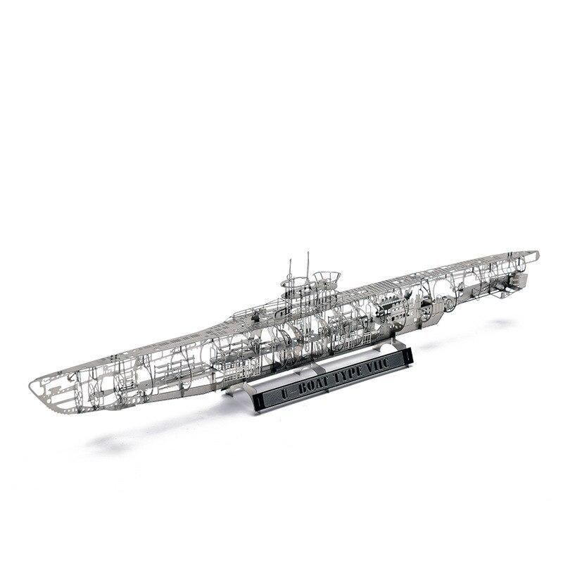 WW2 1:350 German U Submarine U-BOAT TYPE VIIC Fun 3d Metal Diy Miniature Model Kits Puzzle Toys Children Splicing Hobby Building