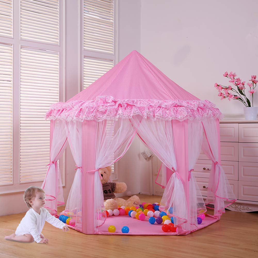 Kids Princess Lace Teepee Castle Baby Play Game House Children Play Tent Tipi Inflatable Toy Tent Balls Pool Playpen indoor  best selling child toy tents tipi kids game house girl princess play tent teepee children house indoor outdoor toy tents
