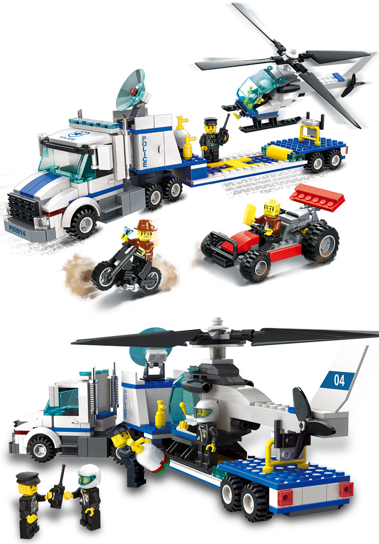 kazi city police station swat helicopter speedboat diy model building kits education toys for children festival gift for friends Model building kits compatible with lego city police Helicopter transport 3D blocks model building toys hobbies for children