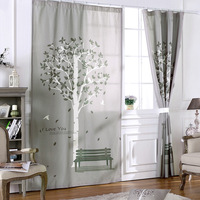 Linen Cotton 3d Blackout Window Curtain For Bedroom Happy Tree Grey Window Curtains For Living Room