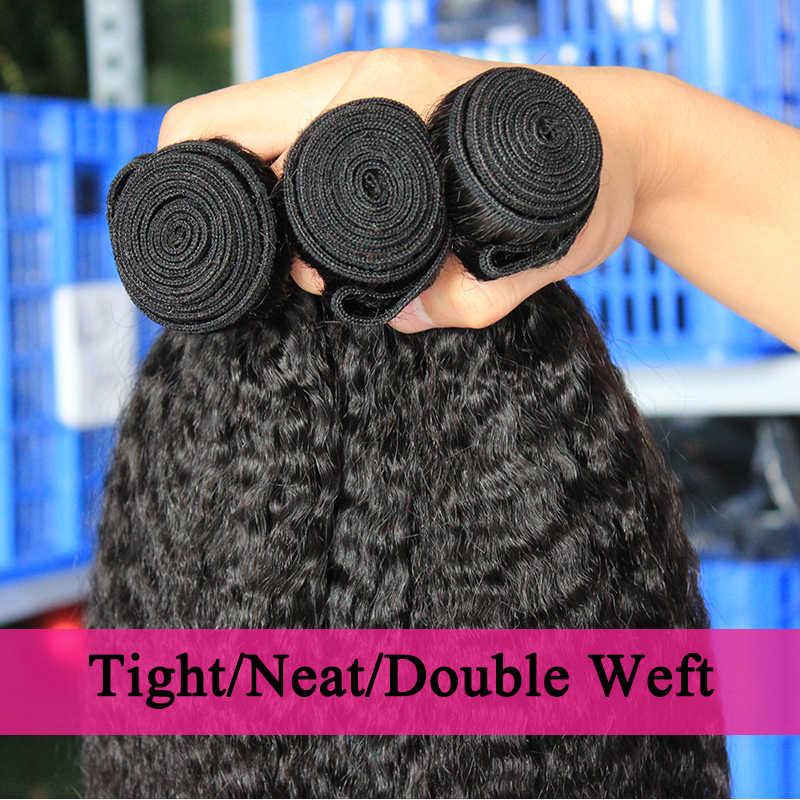 Кудрявые прямые волосы бразильские виргинские волосы плетение пучки грубые яки 100% человеческие волосы пучки 3 долаго волосы продукты для наращивания