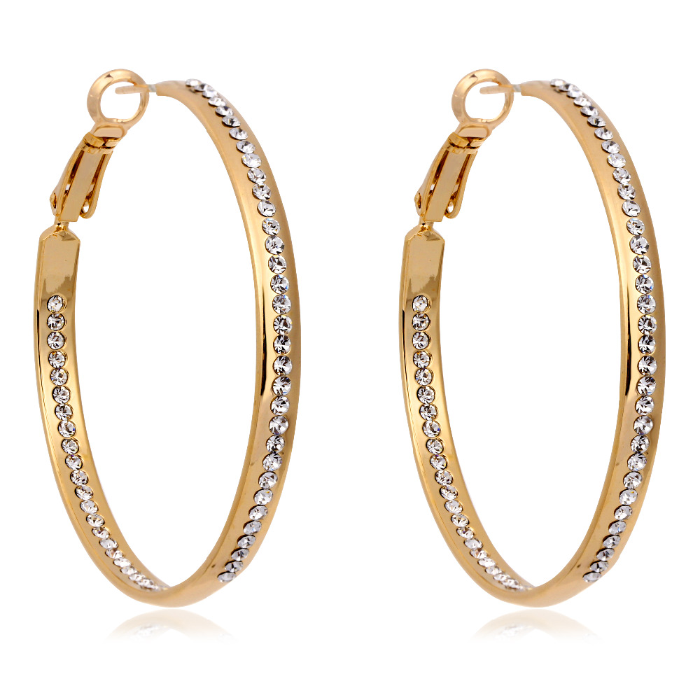 Gold Color Cluster Crystal Wide Circle Big Large Loop Hoop Earrings For  Women Girls Party Jewelry