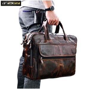 Image 2 - Erkek yağ balmumu deri antika tasarım iş evrak çantası dizüstü evrak çantası moda ataşesi askılı çanta Tote portföyü 7146