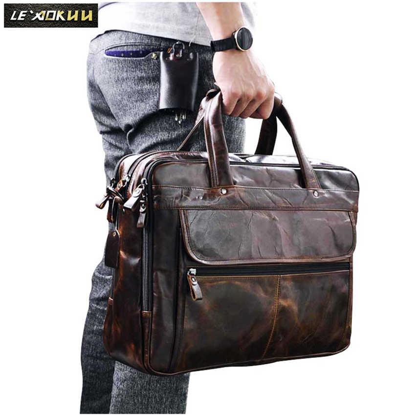 Pria Minyak Lilin Kulit Desain Antik Bisnis Briefcase Laptop Document Case Fashion Atase Messenger Tas Tote Portfolio 7146