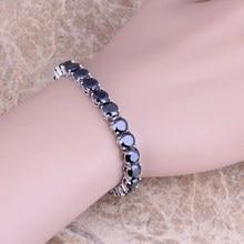 Encantador Negro Creado Sapphire 925 Overlay Enlace Pulsera de Cadena de 7 pulgadas Para Las Mujeres S0273