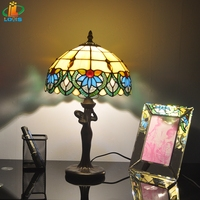 Free delivery of 10 inches of European orchid Tiffany beauty bedroom bedside lamp glass lamp study antique fashion lighting