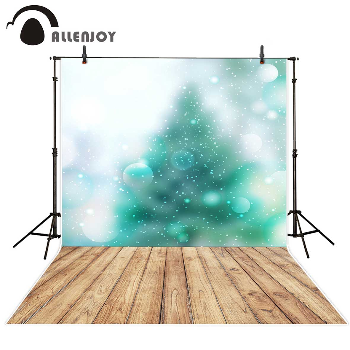 Allenjoy photography backdrops Green bokeh winter shiny wooden board Backgrounds for photographing for baby