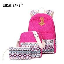 Qicai. yanzi 3 шт./лот элегантный дизайн зимние shoolbags Для женщин холст точка Кружево Рюкзаки сумка Рюкзаки Mochilas Эсколар Z529