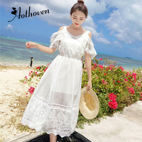 Sundress White Lace Long Beach Dress Spaghetti Strap Crochet Embroidery Sexy Boho Dress Summer Off the Shoulder Party Dresses