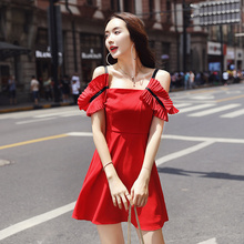 EAD 2019 New Off Shoulder Summer Dress Boho Red Sleeveless Women Sexy Dresses Female Backless High Waist Spaghetti Strap Vestido
