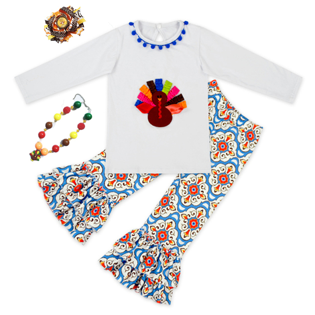 68a6c083d4df5 2018 baby girls outfits thanksgiving baby kids boutique baby girl kid  thanksgiving outfits turkey set with matching necklace bow