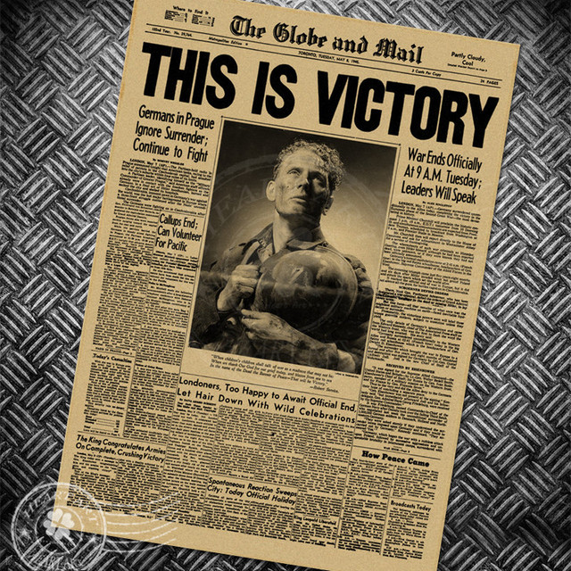 World war 2 this is victory newspaper vintage poster chart retro poster wall art sticker print