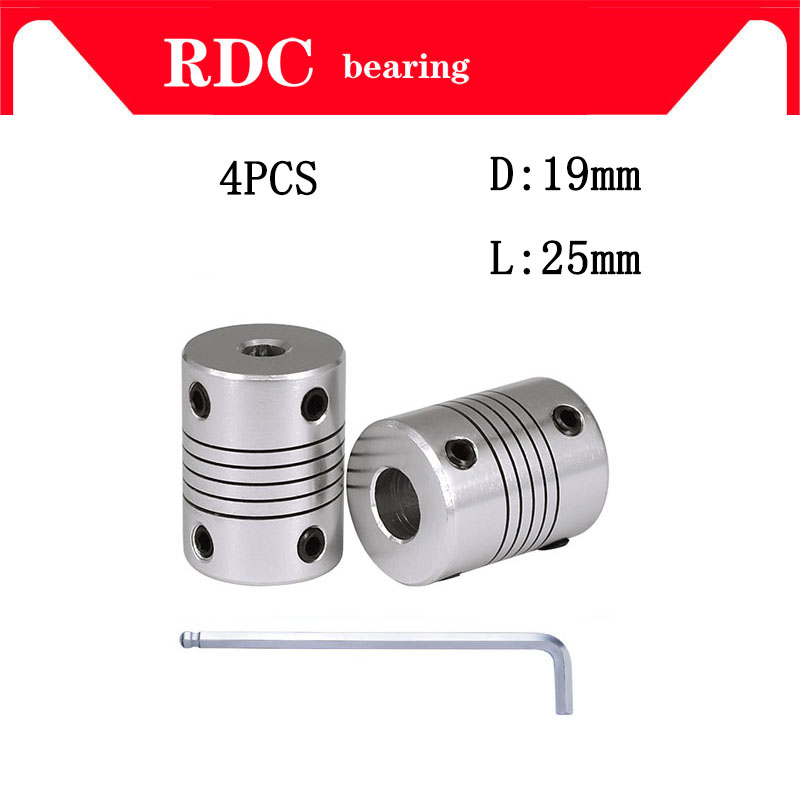 High quality 4pcs D19L25 CNC Motor Jaw Shaft Coupler Flexible Coupling OD 19x25mm wholesale 4/ 5/6/6.35/8/9.5/10/12mm image