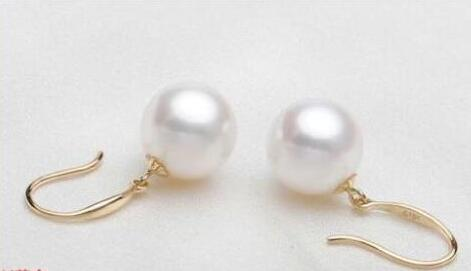 Free shipping 1 pair of huge AAA+10-11mm round south sea white pearl earring 14 gold  Free shipping 1 pair of huge AAA+10-11mm round south sea white pearl earring 14 gold