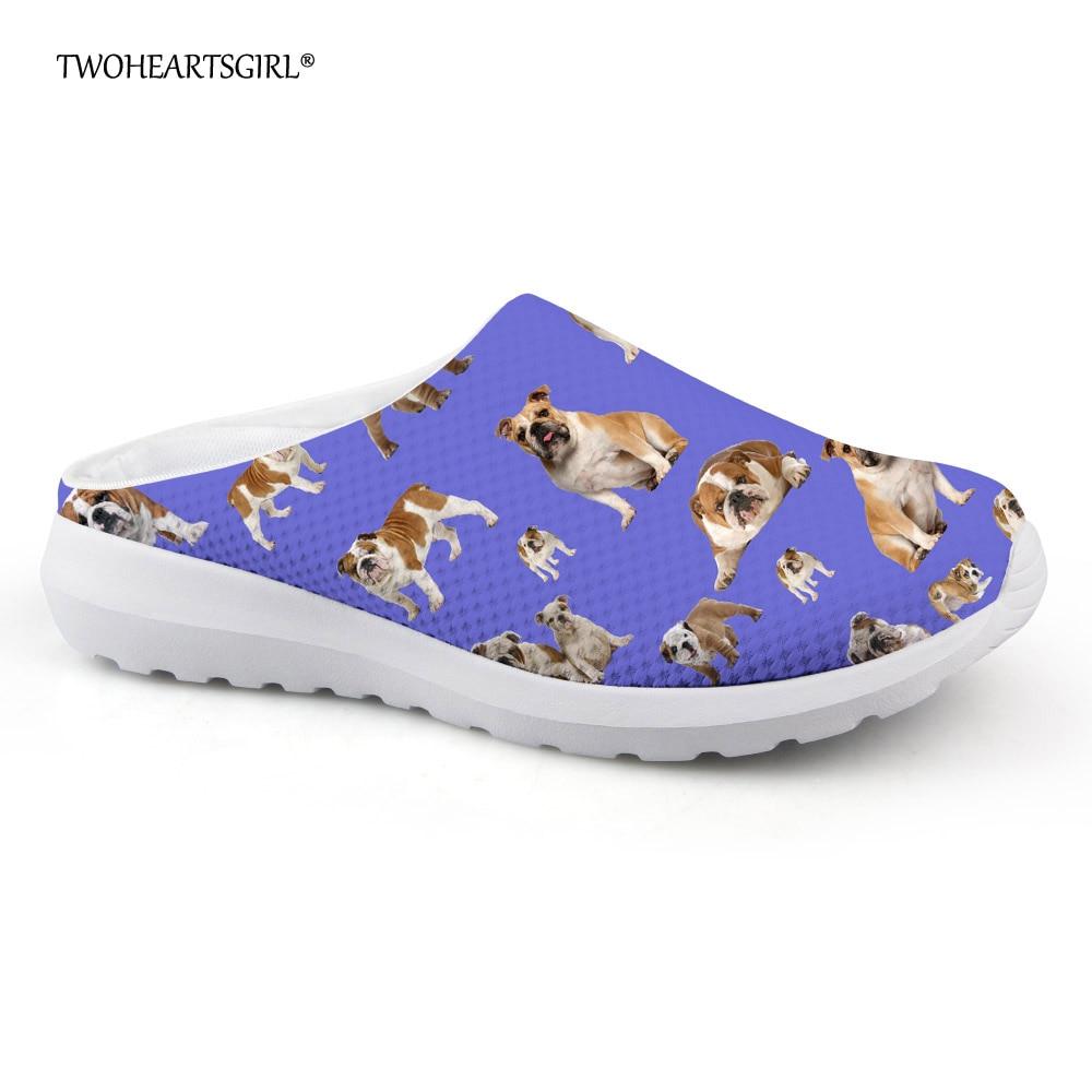 Twoheartsgirl Cute French Bulldog Slipper for Women Mesh House Shoes Breathable Ladies Flat Sandals Summer Beach Slippers beach house