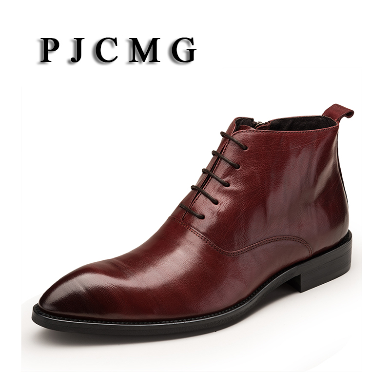 PJCMG New Arivel Fashion Black Red Boots Genuine Leather Lace Up Pointed Toe Business Casual Ankle