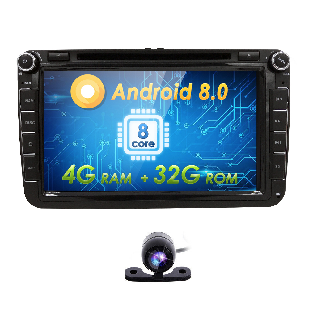 AutoRadio 2 Din Android 8.0 Car DVD head unit for skoda octavia superb 2 3rapid VW passat b6 b5 T5 Navi Golf 56 Touran seat leon isudar car multimedia player automotivo gps autoradio 2 din for skoda octavia fabia rapid yeti superb vw seat car dvd player
