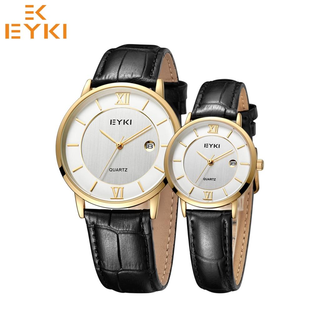 EYKI Fashion Top Brand Mens Women Watches Couple Clock Waterproof Quartz Movement Leather Strap Relogios Masculino Montre Femme