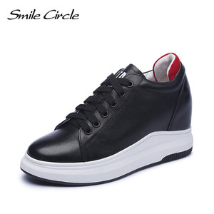 Image 4 - Smile Circle Wedges Sneakers Women Genuine Leather Casual Shoes Women Fashion Lace up High heel Platform Shoes