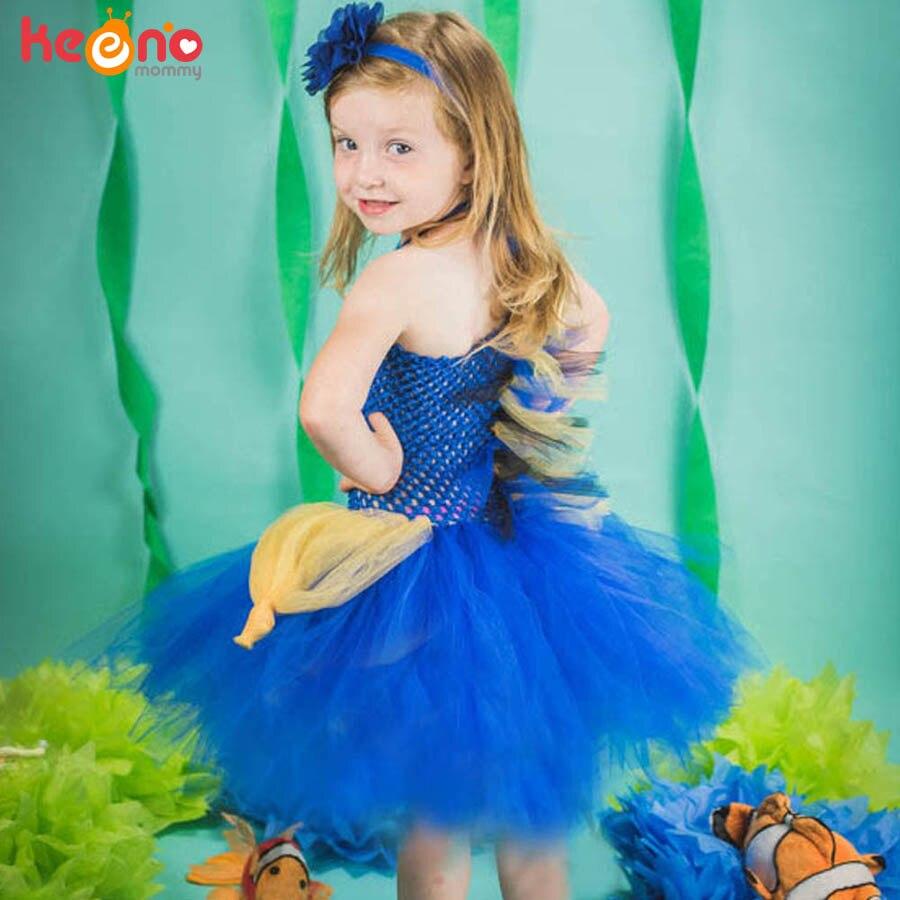 Royal Blue Tang Fish Girls Tutu Dress Under The Sea Theme Birthday Party Dress Kids Photo Prop Dress Up Halloween Costume 1