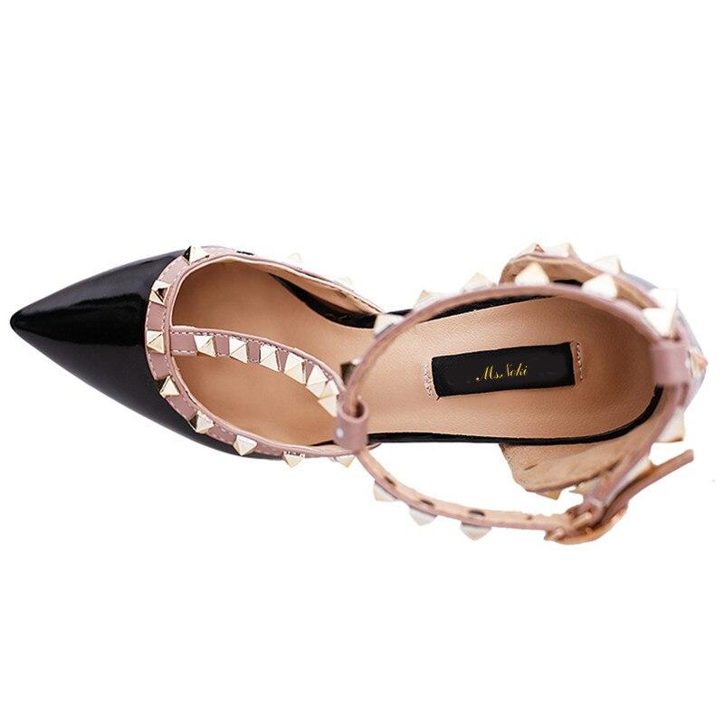 Noki À Bout De white Talon Talons pink strap Printemps Mariage Nouveau Carré Hauts T Chaussures Mme Pompes gray Dame Pointu Femmes Rivet Mode Black Nouveauté dPCdqw8
