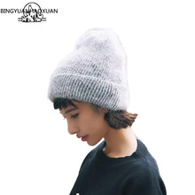 BINGYUANHAOXUANNew Womens Winter Kashmir Beanie Hats Ladies Knit Hat Rabbit Fur Sweet Caps And Comfortable Hot