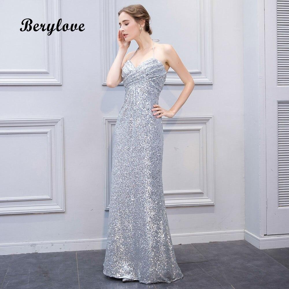 BeryLove Unique Straight Sliver Sequin Evening Dresses 2018 Long ...