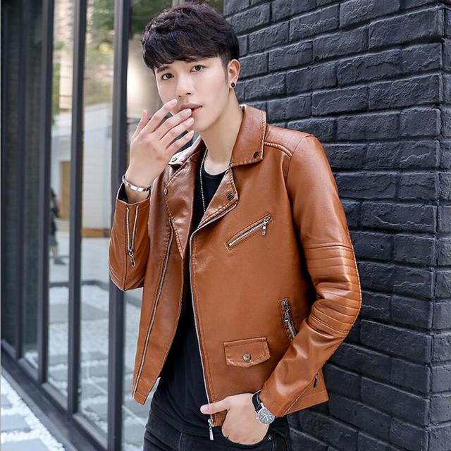 e55869e5d US $69.62 |Free shipping large size PU leather motorcycle jacket autumn and  winter Korean version personality zipper men's short jacket 3XL-in Faux ...