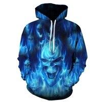 Hot Sale Brand Fashion Hooded Men Women Funny Alternative Skull Blue Flame Printed Hoodies Sweatshirt High