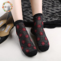 spring and summer octagonal silk glass socks flower imports elastic women socks